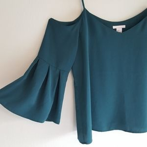 H&M emerald green cold shoulder bell sleeve top